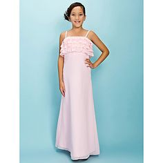 A-line Spaghetti Straps Floor-length Chiffon Junior Bridesmaid Dress – USD $ 89.99