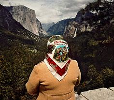 Roger Minick, Sightseer series, Woman with Scarf at Inspiration Point, Yosemite National Park, CA 1980