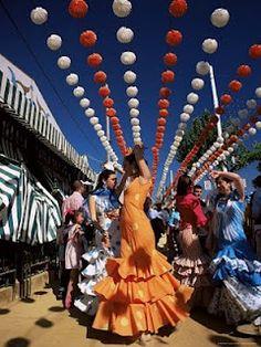 Sevillanas: dancing this 'sort of' flamenco is always a fiesta!! Feria de Abril in Sevilla, Spain