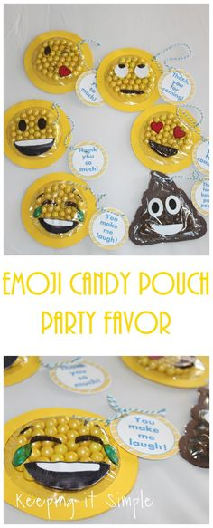 Emoji candy pouch party favor with printable.  Perfect for an emoji party!