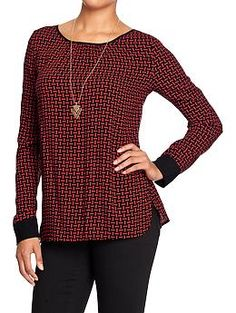 Women's Patterned Crepe Blouses | Old Navy
