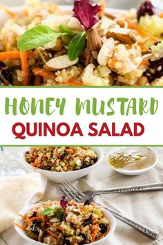 This easy to make Honey Mustard Quinoa Salad is packed with flavor! Crunchy celery and almonds paired with sweet cranberries make for a delicious vegan quinoa salad. Best Quinoa Recipes, Vegetarian Salad Recipes, Healthy Gluten Free Recipes, Healthy Meats, Healthy Snacks, Honey And Mustard Salad, Food Salad, Easter 2021, Dinner Salads