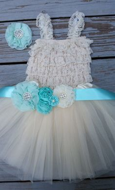Mint Blue-Teal-Turquoise Flower Girl Dress by CountryCoutureCo