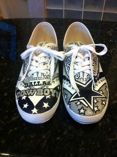 Hand painted dallas cowboys shoes by HaloHouse on Etsy, $120.00