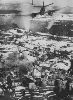 Bristol Beaufighter X of No.19 Squadron, SAAF, attacking the German-occupied town of Žužemberk, Slovenia