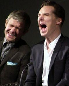 My two favorite goofballs of all time ... Martin  Freeman/John Watson and Benedict Cumberbatch/Sherlock Holmes