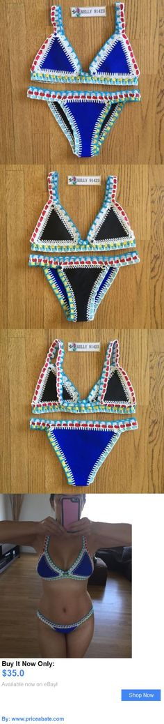 Women Swimwear: Brand New Sexy Reversible Crochet Neoprene Blue/Black Bikini Swimsuit L BUY IT NOW ONLY: $35.0 #priceabateWomenSwimwear OR #priceabate