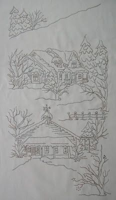 I have others of these on my embroidery board. MoosecraftUSA: Redbud Cottage and Snow Days Block 5 Christmas Embroidery Patterns, Embroidery Transfers, Crewel Embroidery, Hand Embroidery Patterns, Cross Stitch Embroidery, Quilt Patterns, Machine Embroidery, Quilting, Embroidery Techniques