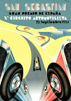 Spanish Auto Grand Prix, San Sebastian. 1934 http://vintagevenus.com.au/products/vintage_poster_print-tr471