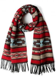 Red Multi Color Aztec Print Scarf with Fringe Detail,  Accessory, print scarf  fringe detail, Casual