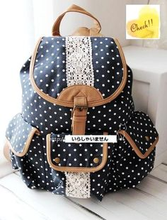 JAPAN Vintage Polka Dot Lace Pocket Backpack School Campus Outdoor Rucksack on Wanelo