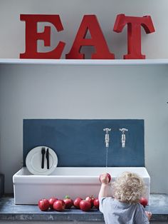 EAT Red Metal Letters - We love big lavish graphic declarations and these huge heavy iron letters are fabulous fun.  £150.00