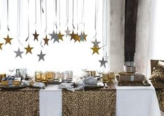Christmas 2012 - Trendy H Christmas Collection - H XMas Table Decoration & Christmas Stars on Ribbons as H Christmas Ornaments in Gold and White!