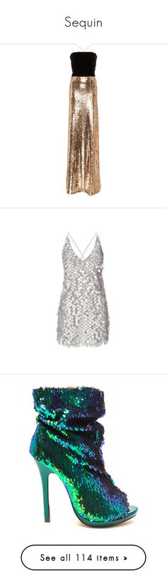 """""""Sequin"""" by ohnopaula ❤ liked on Polyvore featuring dresses, gowns, long dress, monique lhuillier, strapless gown, multi, sequined dress, embroidery dress, strapless long dresses and long brown dress"""
