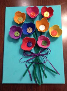 A fun craft with egg cartons, buttons and pipe cleaners! Perfect for Mother's Day!