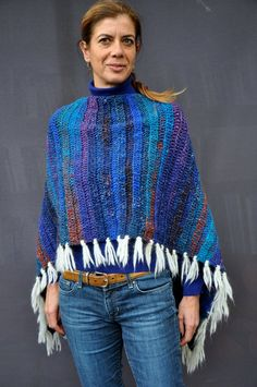 Hand Crochet wool and silk poncho / Noro crochet by SophieCRO
