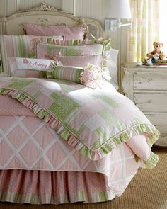 """""""Cozy Patch"""" Bed Linens by Legacy Home at Horchow.      Love the pink and green :)"""