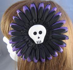 #Handmade Hair Clip / Brooch Skull with Purple and Black Flower by ninjavspirategifts, $16.00