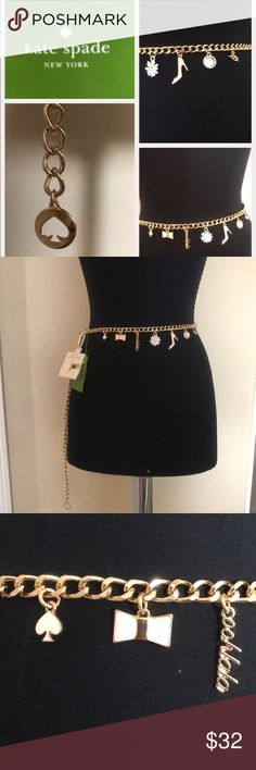 """Kate Spade ♠️ New York Charm Chain belt Authentic tags attached 1- s/m and 1 m/l Bow and shoe are pink, Spade and flower are white, adorable in gold, 1 large crystal and xo is faux diamonds all with gold accents. Great gift for yourself and anyone else! s/m total chain length is 43 1/2"""". m/l total length is 46 1/2"""" Thank you for shopping my closet😊 pic 6 shows the true colors!! kate spade Accessories Belts"""
