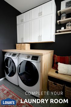 When it comes to buying appliances there are a ton of options. It's all about finding the right washer dryer combo that fits your home. Lowe's has got you covered. Laundry Room Organization, Laundry Room Design, Organization Ideas, Organizing, Room Interior, Interior Design Living Room, Laundry Room Remodel, Laundry Rooms, Laundry Area