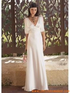 V-neck Sleeved elastic Satin Unusual wedding dresses