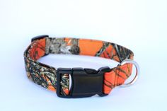 Camouflage and Blaze Orange Hunting Camo Print Adjustable Dog Collar by HeidisHoundWear, $15.00