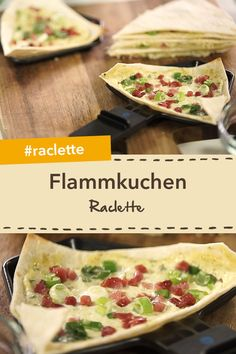 Raclette mal anders: Flammkuchen im Raclette Fast and easy: quick tarte flambee with ham and spring onions. Healthy Recipes, Fish Recipes, Asian Recipes, Healthy Snacks, Snack Recipes, Ganache Au Nutella, Raclette Originale, Mini Sandwiches, Baked Chips