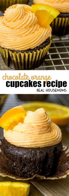 Chocolate and orange is a yummy flavor combination that will seriously excite your taste buds. These easy Chocolate Orange Cupcakes are a favorite with everyone! via @realhousemoms