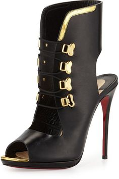 Christian Louboutin Troubida Lace-Front Red Sole Pump, Black