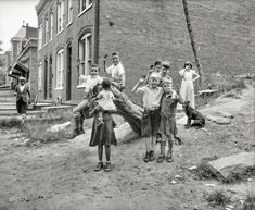 """Our Gang -Washington, D.C., circa 1935. """"Children playing."""" With a cameo appearance by our old friend Turnbuckle Star. Harris & Ewing glass negative."""