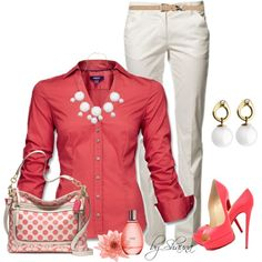 """W O R N  - """"Coral"""" by shauna-rogers on Polyvore - INSPIRED: coral blouse, white capris, coral flats, white Gcc bag, silver jewelry"""
