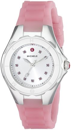 MICHELE Women's MWW12P000008 Jellybean Stainless Steel Watch with Pink Topaz Stones *** More info could be found at the image url.