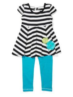 Nicole Miller Stripe Rosette Top with Legging Nicole Miller 5df249fa8
