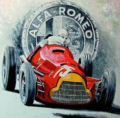 The Alfa Romeo is one of the most successful racing cars ever produced. The car was original. Maserati, Lamborghini, Ferrari, Bugatti, Alfa Romeo, Grand Prix, Sports Car Logos, Auto Poster, Alfa Alfa