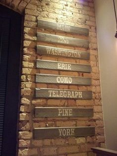 """A friend's wall art - all the street names he's lived on turned into """"funky wall art"""" :)"""
