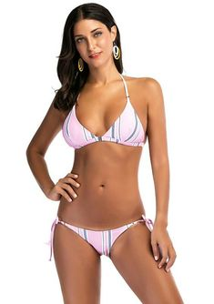 ce3de7c5096ed Ropaus Sexy Stripe Print Padded Push Up Bikini Triangle Bottom Adjustable  Tie Halter Top Swimsuit Set - Polyester Digital Print Fabric  Polyester+lined ...