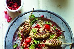 Lean turkey koftas with quinoa and pomegranate salad. Picture by Martin Poole.