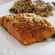 "Baked Salmon Fillets Dijon | ""This was a great recipe-- easy, delicious, and fast. Went well with rice pilaf and asparagus. Works great when you want to impress with a minimum of effort.:"