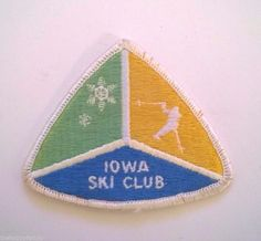 Iowa Ski Club Skiing Skier Triangle Ski Travel Souvenir Patch Vintage