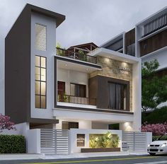 Modern Bungalow Exterior, Modern Exterior House Designs, Narrow House Designs, Modern House Facades, Latest House Designs, Modern House Design, House Outside Design, House Front Design, 2 Storey House Design