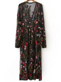 Black Floral Embroidery V Neck Sheer Mesh Maxi Dress 72a4323278e6