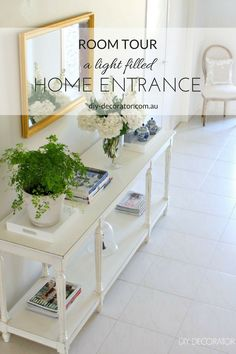 Room Tour – A welcoming light filled home entrance. Blue and white china. Maiden hair fern