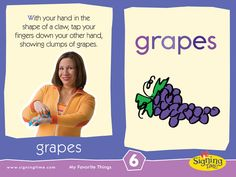"GRAPES: ""Show the bunches of grapes on your hand"""