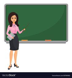 Young female teacher near blackboard teaching Vector Image Student Teaching, School Teacher, Teacher Images, Teacher Cartoon, Book And Frame, Background Powerpoint, Borders For Paper, Community Helpers, Young Female