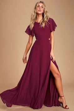 Sexy Burgundy Maxi Dress - Back Cutout Dress - Cutout Maxi Dress