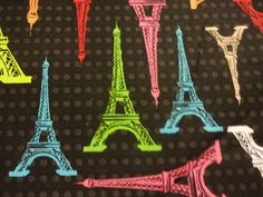 "Elegant ""COLORFUL EIFFEL TOWERS"" Handmade Cotton Pillowcase Standard/Queen #Handmade #Romantic"