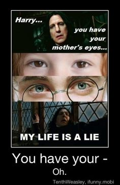Really snape?! The love of your life but what color her eyes are?!