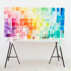 DIY - Watercolor paper squares backdrop by ohhappyday.com