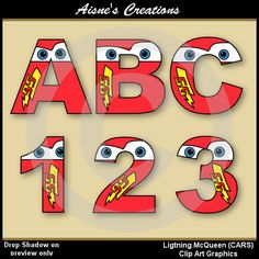 Lightning McQueen CARS Alphabet Letters & by AisnesCreations Lightning Mcqueen Party, Lightening Mcqueen, Lightning Mcqueen Quotes, Paw Patrol, Alphabet Disney, Word Art, Alphabet And Numbers, Alphabet Letters, Diy Letters