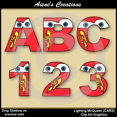 Lightning McQueen CARS Alphabet Letters & by AisnesCreations